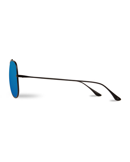 Swing Titanium Pilot Polarized Sunglasses, Black/Blue