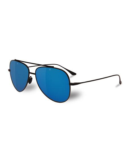 Vuarnet Swing Titanium Pilot Polarized Sunglasses, Black/Blue