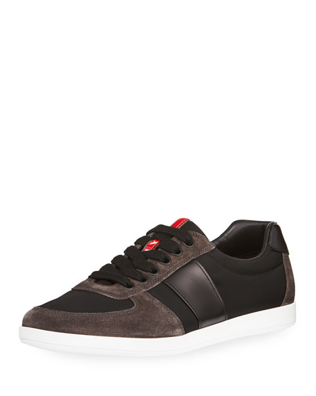 Prada Linea Rossa Nylon Low-Top Sneaker with Leather