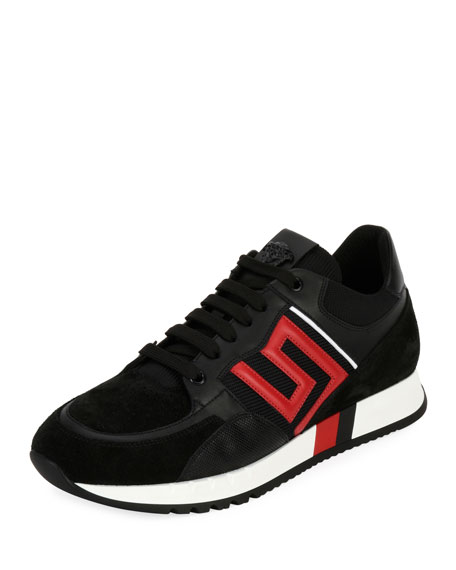 Greek Key Running Shoe, Black