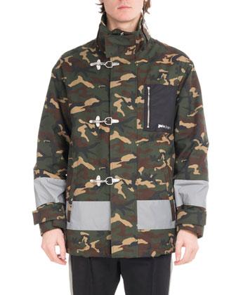 772d4c0bf3afa Palm Angels Camouflage Fireman Utility Jacket, Green | Neiman Marcus