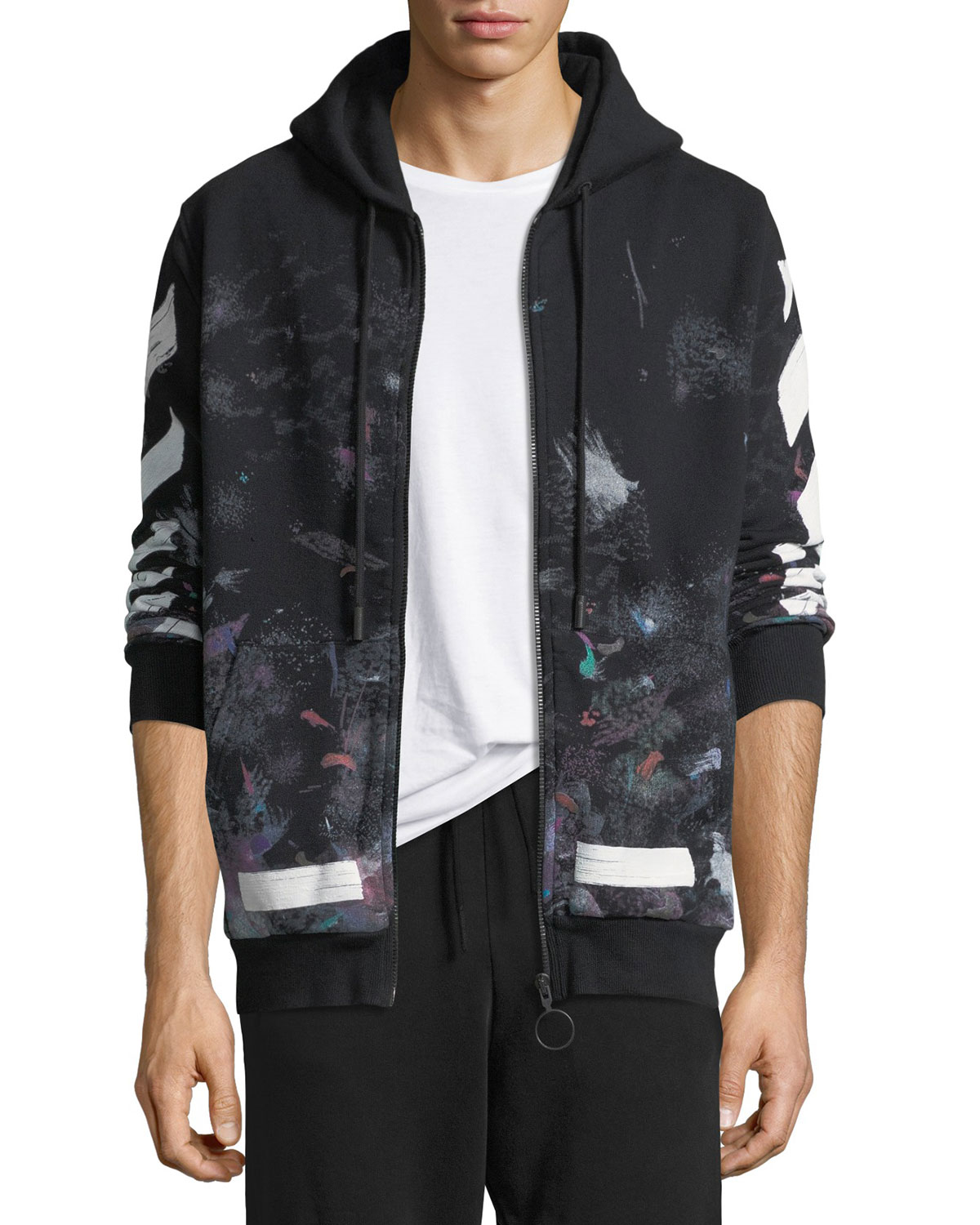 09e5b4840f731a Off-White Diag Galaxy Brush Zip Hoodie | Neiman Marcus