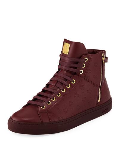 Visetos Embossed Leather High-Top Sneaker