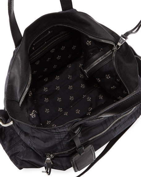 Plaid-Print Nylon Shopper Bag