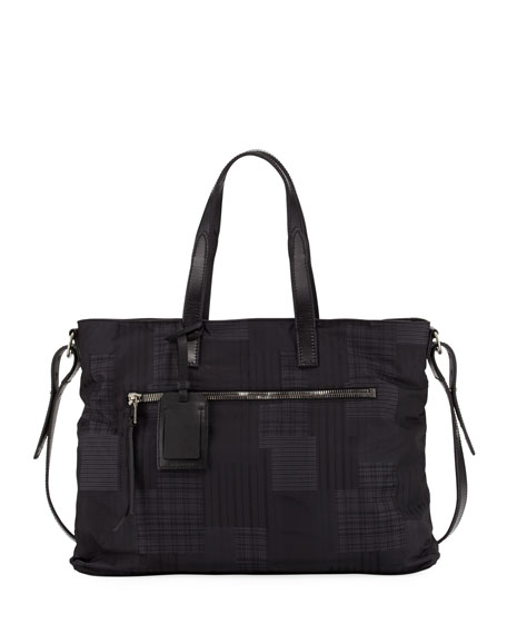 John Varvatos Plaid-Print Nylon Shopper Bag