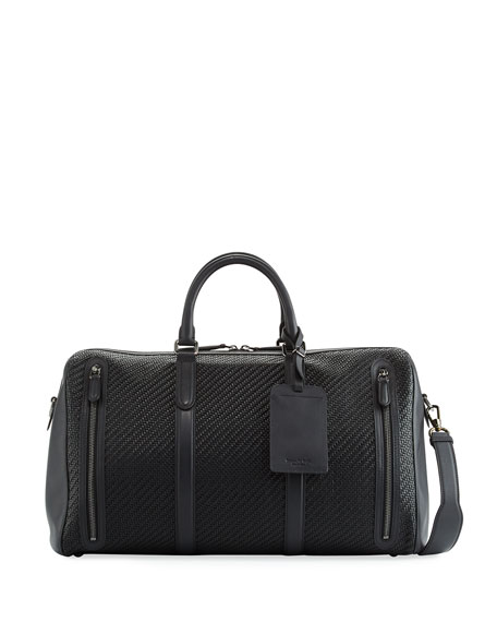 Ermenegildo Zegna Pelle Tessuta Woven Leather Duffle Bag