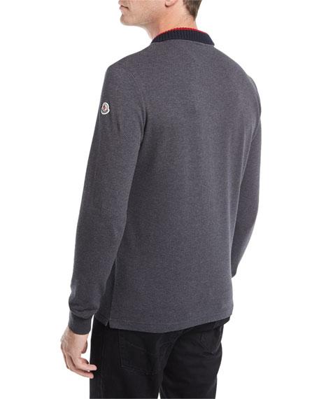 Long-Sleeve Ribbed-Collar Polo Shirt