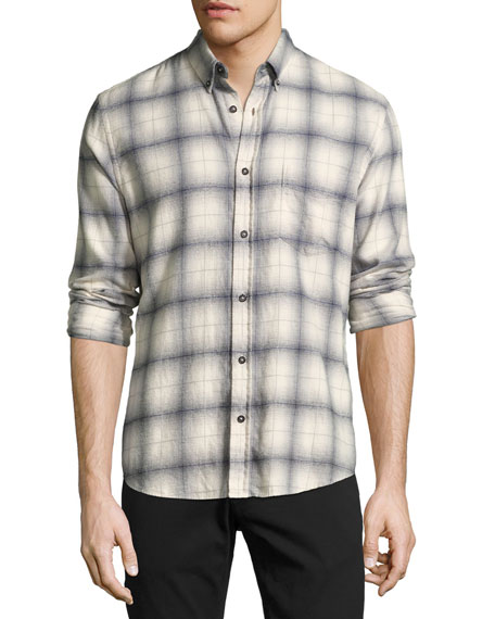 Billy Reid Kirby Slim-Fit Plaid Oxford Shirt