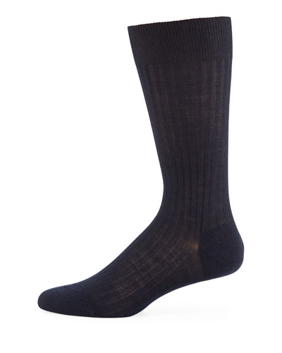 Solid Wool Half-Calf Socks, Navy