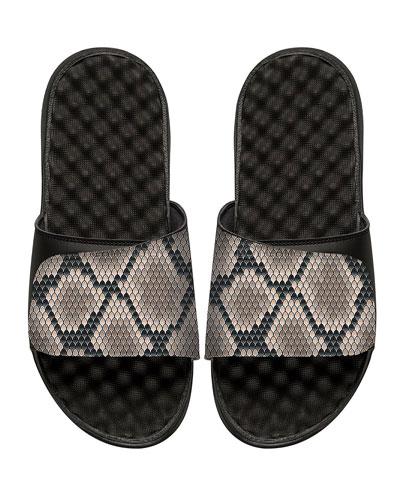 Snakeskin-Print Slide Sandal