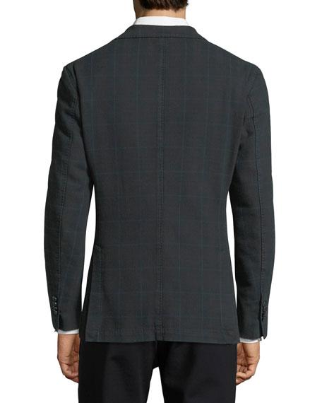 Windowpane Check Two-Button Sport Jacket