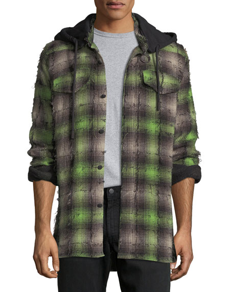 Off-White Diagonal Stripes Plaid Flannel Hooded Shirt