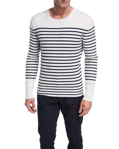 Striped Cashmere Crewneck Sweater