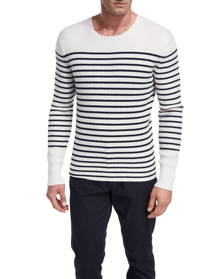 Striped Cashmere Crewneck Sweater