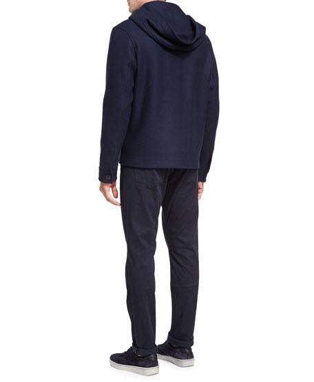 Full-Zip Virgin Wool Hooded Jacket