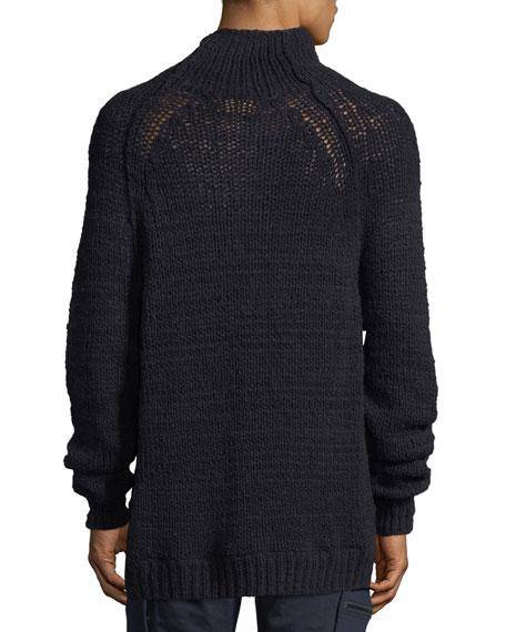Open-Knit Mock-Neck Sweater