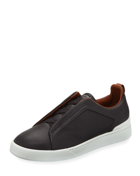 Ermenegildo Zegna Triple-Stitch Slip-On Sneakers, Gray