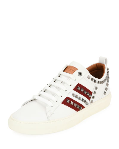 Helvio Studded Leather Low-Top Sneaker, White