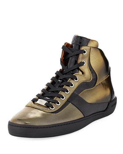 Etra Metallic Fabric High-Top Sneaker