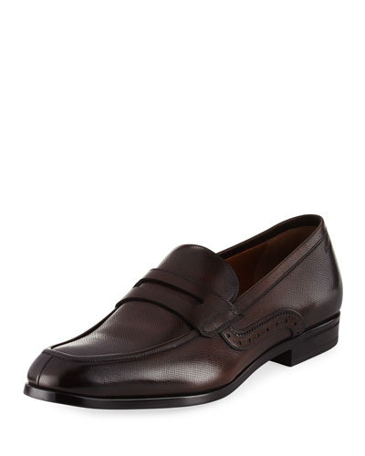 Lauto Textured Leather Penny Loafer, Brown