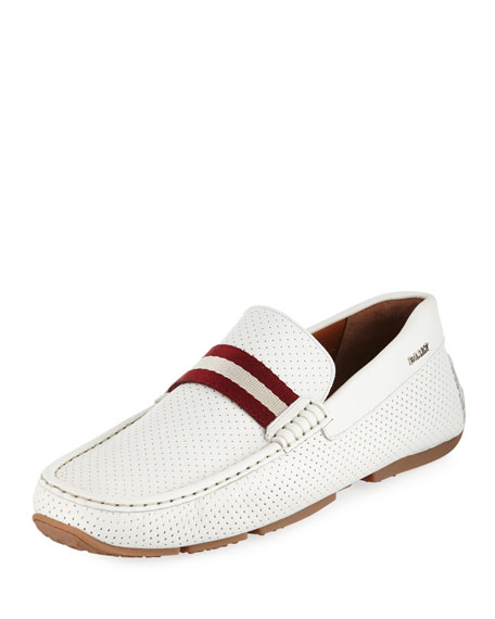 Pearce Perforated Faux-Leather Driver, White