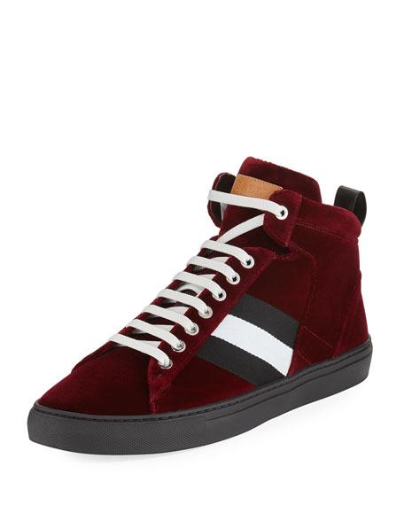 Hedern Velvet High-Top Sneaker, Wine