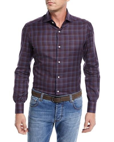 Check-Print Cotton Dress Shirt