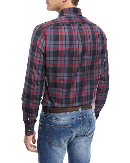 Tonal Check-Print Cotton Dress Shirt