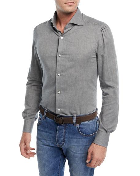 Textured Cotton Flannel Dress Shirt