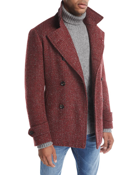 Isaia Donegal Double-Breasted Wool-Mohair Pea Coat