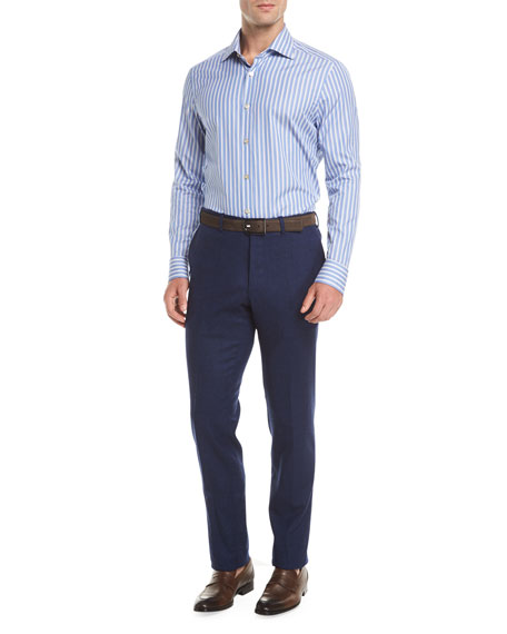 Wool-Cashmere Flat-Front Trousers, Navy