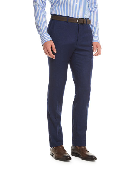 Kiton Wool-Cashmere Flat-Front Trousers, Navy