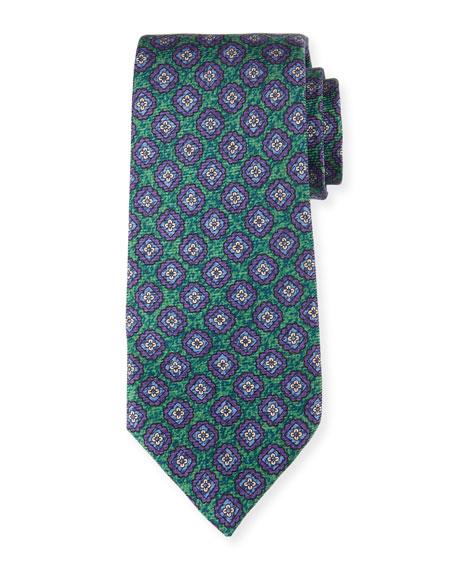 Medallion-Print Silk Tie, Green
