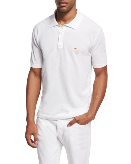 Ermenegildo Zegna Cotton Pique Polo Shirt, White