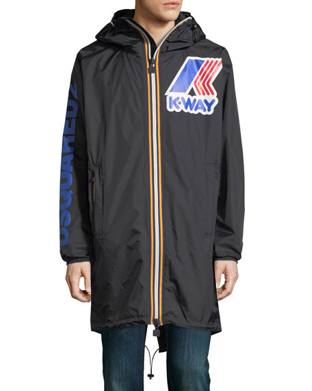 x K-Way® Long Reversible Nylon Packable Jacket