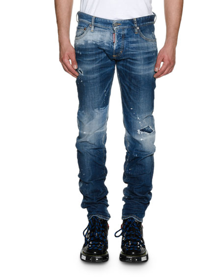 Cheap Latest Dsquared2 Slim-Fit Straight Jeans for Men Sale Online