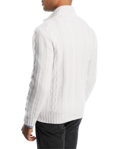 Cashmere Cable-Knit Half-Zip Sweater