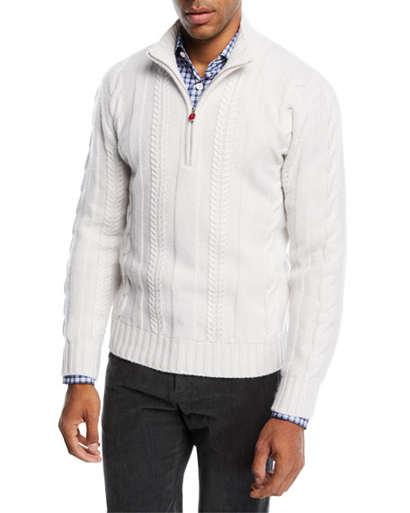 Kiton Cashmere Cable-Knit Half-Zip Sweater
