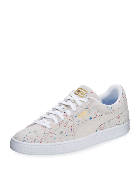 Men's Classic Paint-Splatter Suede Low-Top Sneaker, White