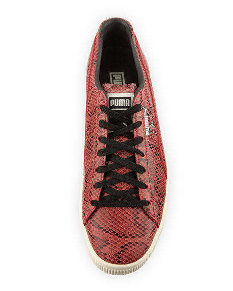 Men's Clyde Snakeskin-Embossed Leather Low-Top Sneaker, Red