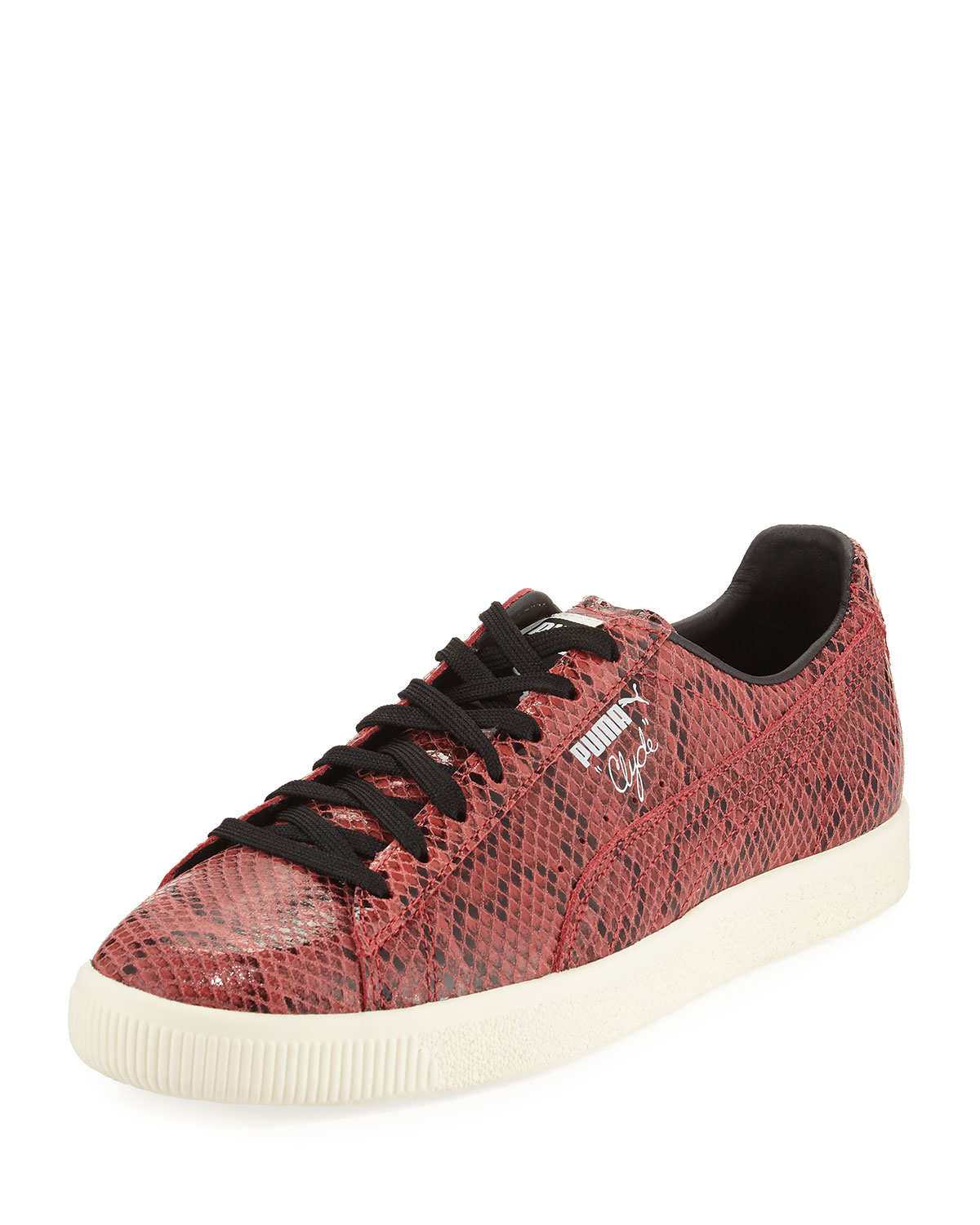 outlet store 11946 2a78e Men's Clyde Snakeskin-Embossed Leather Low-Top Sneaker, Red