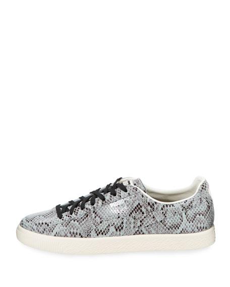 Men's Clyde Snakeskin-Embossed Leather Low-Top Sneaker, Gray