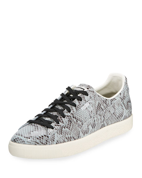 Puma Men's Clyde Snakeskin-Embossed Leather Low-Top Sneaker, Gray