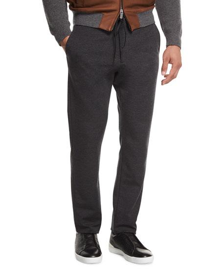 Ermenegildo Zegna Drawstring Jogger Pants, Dark Charcoal Gray