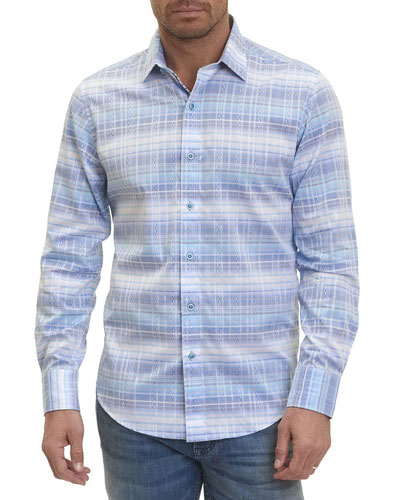 Ombre Shadow Plaid Sport Shirt
