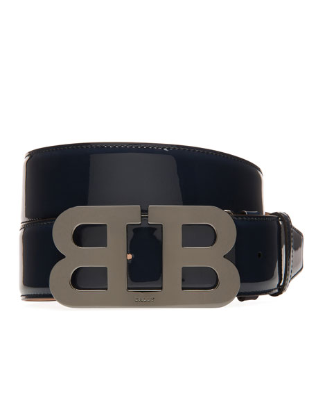 Mirror B Patent Leather Belt, Blue