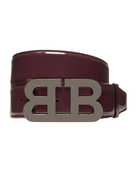 Mirror B Patent Leather Belt, Red