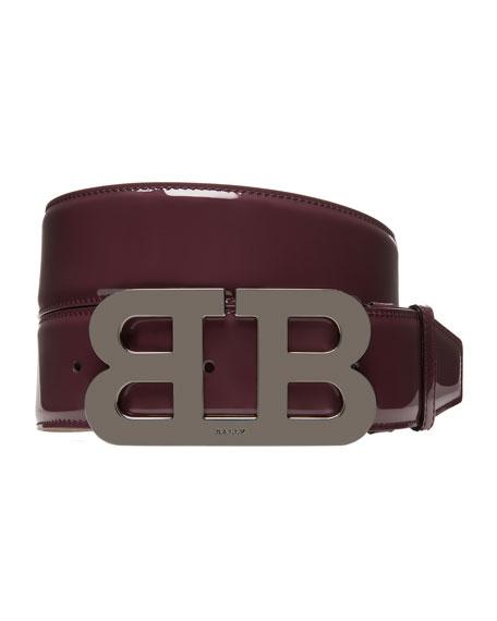 Mirror B Patent Leather Belt, Red