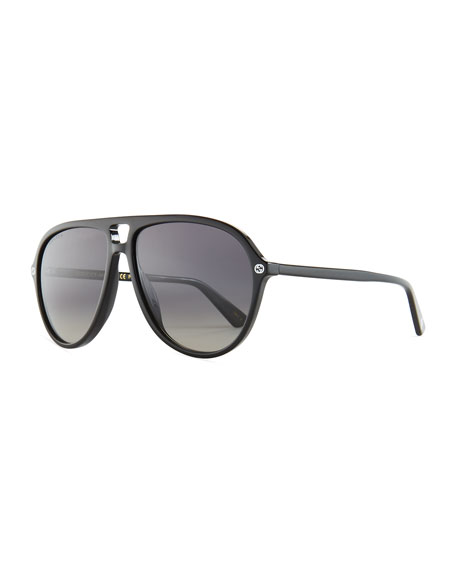 Oversized Acetate Aviator Sunglasses, Black/Gray