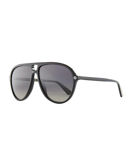 Gucci Oversized Acetate Aviator Sunglasses, Black/Gray